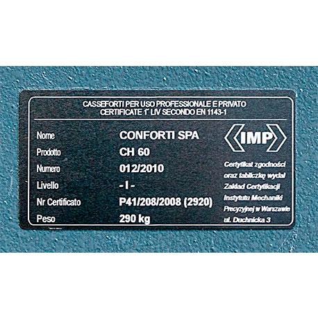 Cassaforte Conforti CH60 dettaglio certificato